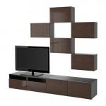 БЕСТО Шкаф для ТВ, комбинация - черно-коричневый/Сельсвикен глянцевый/коричневый, направляющие ящика, плавно закр