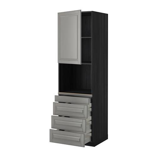 МЕТОД / МАКСИМЕРА Высокий шкаф д/комбинир СВЧ/4 ящика - 60x60x200 см, Будбин серый, под дерево черный