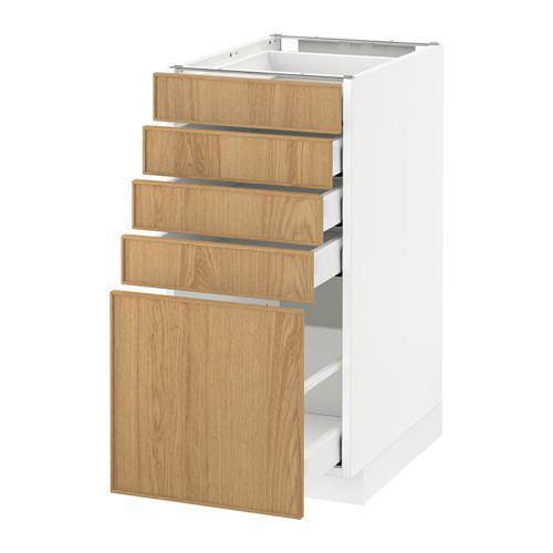МЕТОД / МАКСИМЕРА Напольный шкаф с 5 ящиками - 40x60 см, Экестад дуб, белый