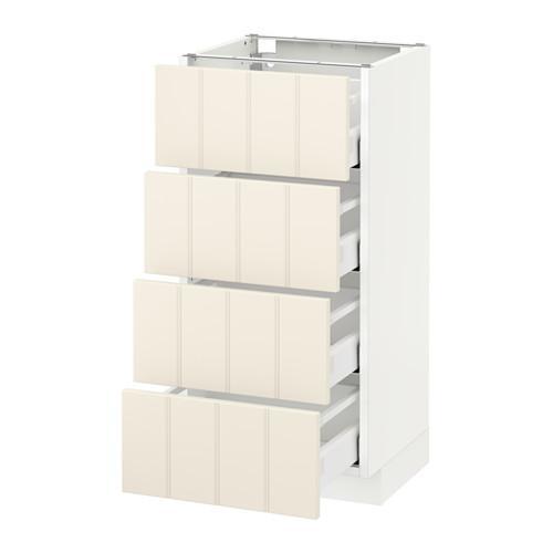 МЕТОД / МАКСИМЕРА Напольн шкаф 4 фронт панели/4 ящика - 40x37 см, Хитарп белый с оттенком, белый