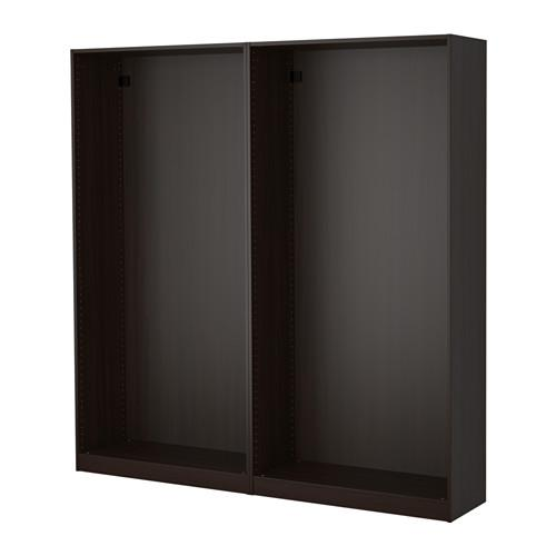 ПАКС 2 каркаса гардеробов - черно-коричневый, 200x35x201 см