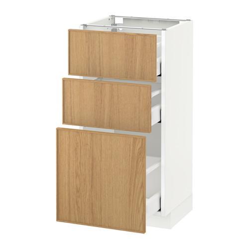 МЕТОД / МАКСИМЕРА Напольный шкаф с 3 ящиками - 40x37 см, Экестад дуб, белый
