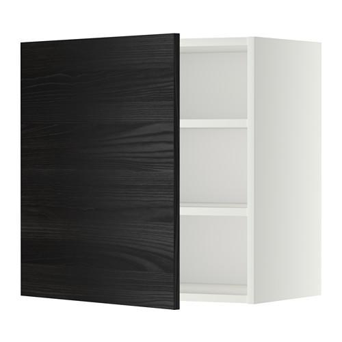 МЕТОД Шкаф навесной с полкой - 60x60 см, Тингсрид под дерево черный, белый