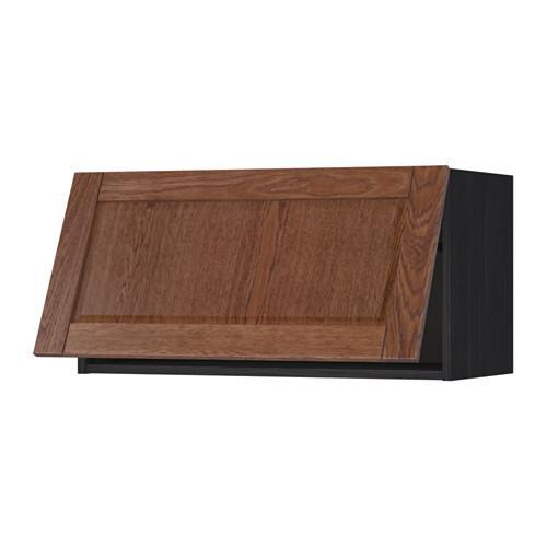 МЕТОД Горизонтальный навесной шкаф - 80x40 см, Филипстад коричневый, под дерево черный