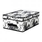 ГАРНИТУР Коробка с крышкой - черный/белый цветок, 28x42x16 см