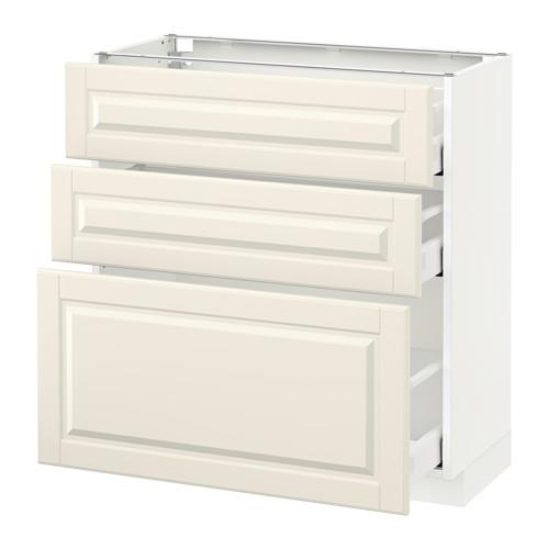 МЕТОД / МАКСИМЕРА Напольный шкаф с 3 ящиками - 80x37 см, Будбин белый с оттенком, белый