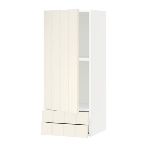 МЕТОД / МАКСИМЕРА Навесной шкаф с дверцей/2 ящика - 40x100 см, Хитарп белый с оттенком, белый