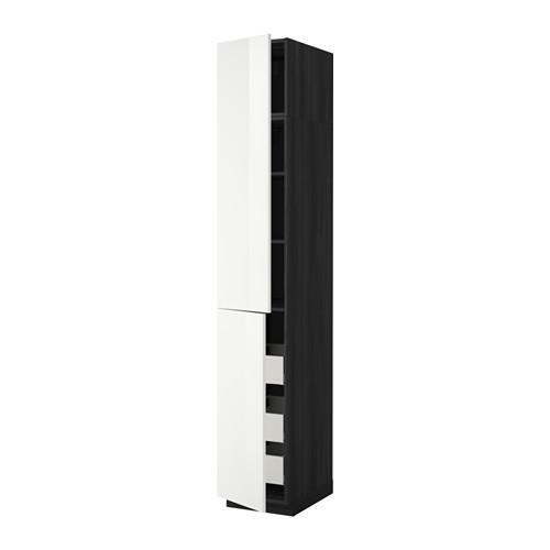 МЕТОД / МАКСИМЕРА Высокий шкаф+полки/3 ящика/2 дверцы - 40x60x240 см, Рингульт глянцевый белый, под дерево черный