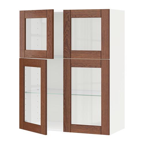 МЕТОД Навесной шкаф с полками/4 стекл дв - белый, Филипстад коричневый