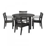ЭНГСО Стол+4 стула с подлокотниками - черно-коричневый