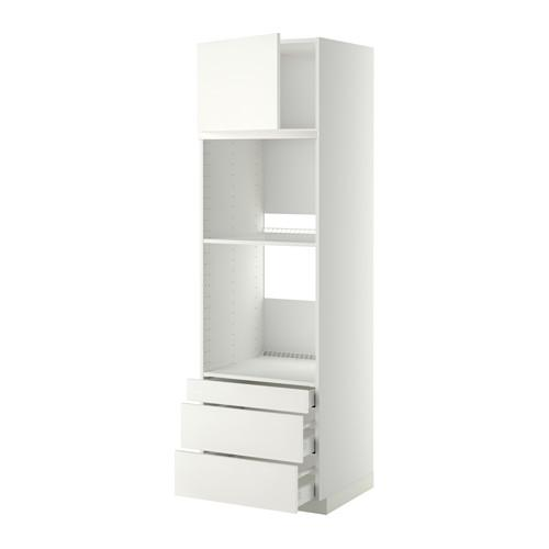 МЕТОД / МАКСИМЕРА Выс шкаф д/дхвк/комб дхвк+двр/3ящ - 60x60x200 см, Хэггеби белый, белый