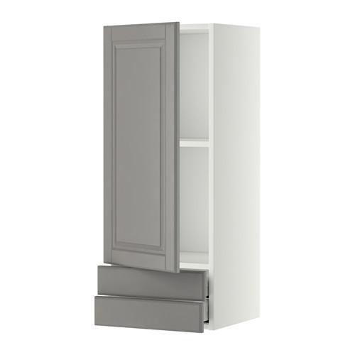 МЕТОД / МАКСИМЕРА Навесной шкаф с дверцей/2 ящика - 40x100 см, Будбин серый, белый