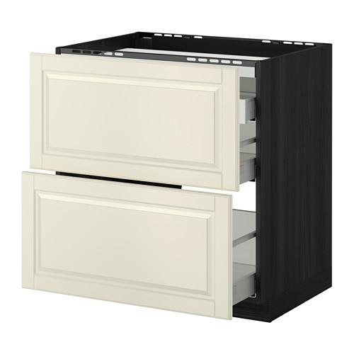 МЕТОД / МАКСИМЕРА Напольн шкаф/2 фронт пнл/3 ящика - 80x60 см, Будбин белый с оттенком, под дерево черный