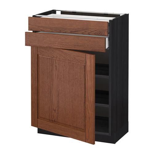 МЕТОД / МАКСИМЕРА Напольный шкаф с дверцей/2 ящиками - 60x37 см, Филипстад коричневый, под дерево черный