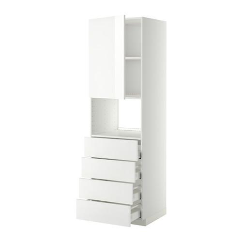 МЕТОД / МАКСИМЕРА Высок шкаф д/духовки/дверца/4ящика - 60x60x200 см, Рингульт глянцевый белый, белый