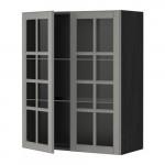 МЕТОД Навесной шкаф с полками/2 стекл дв - 80x100 см, Будбин серый, под дерево черный