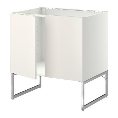МЕТОД Напольн шкаф д раковины+2 двери - Веддинге белый,