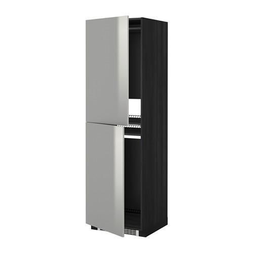 МЕТОД Высок шкаф д холодильн/мороз - 60x60x200 см, Гревста нержавеющ сталь, под дерево черный