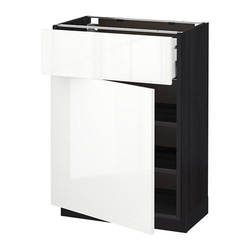 МЕТОД / МАКСИМЕРА Напольный шкаф с ящиком/дверью - 60x37 см, Рингульт глянцевый белый, под дерево черный