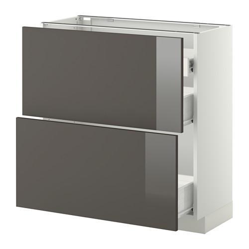 VERFAHREN / FORVARA Nap Schrank 2 FRNT PNL / 1nizk / 2sr Schubladen - weiß, glänzend grau Ringult, 80x37 cm