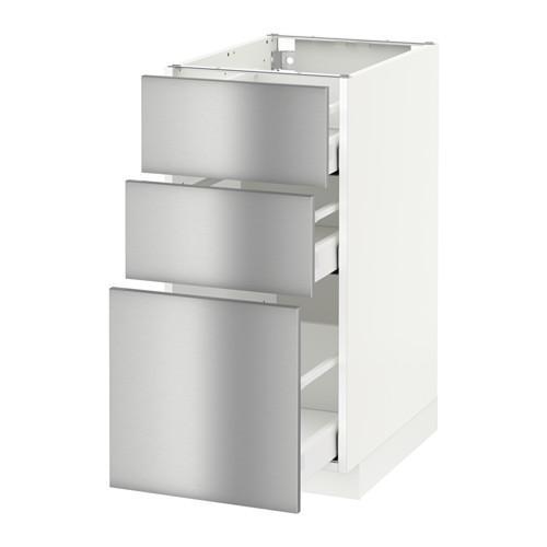 МЕТОД / МАКСИМЕРА Напольный шкаф с 3 ящиками - 40x60 см, Гревста нержавеющ сталь, белый