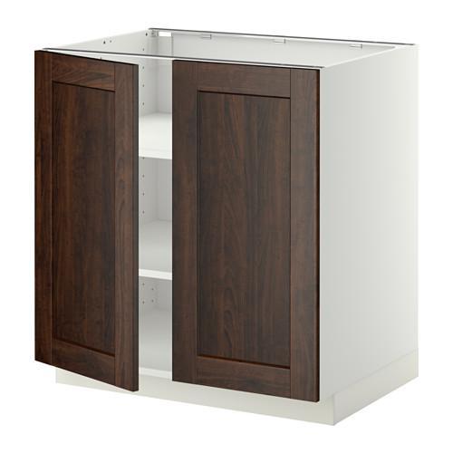 МЕТОД Напол шкаф с полками/2двери - 80x60 см, Эдсерум под дерево коричневый, белый