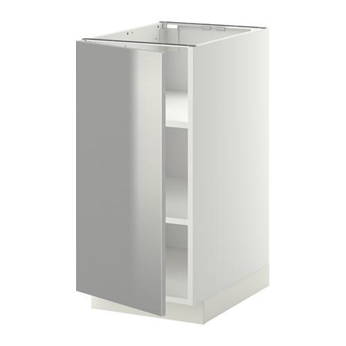 МЕТОД Напольный шкаф с полками - 40x60 см, Гревста нержавеющ сталь, белый