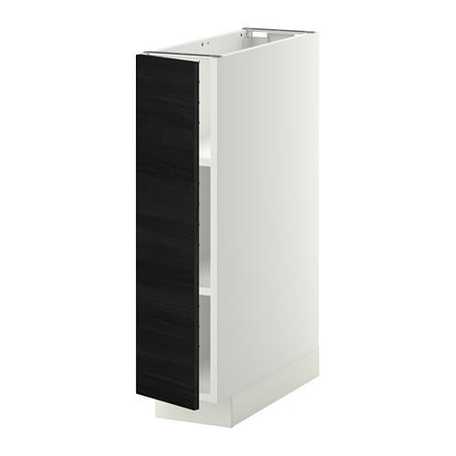 МЕТОД Напольный шкаф с полками - 20x60 см, Тингсрид под дерево черный, белый