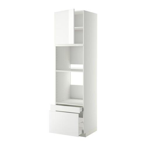 МЕТОД / МАКСИМЕРА Выс шкаф д/дхвк/комб дхвк+двр/2ящ - 60x60x220 см, Рингульт глянцевый белый, белый