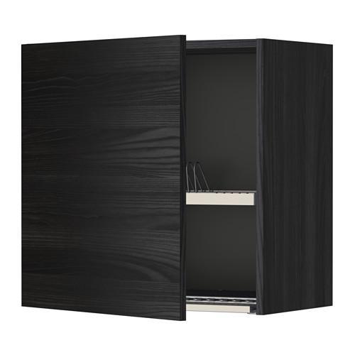 МЕТОД Шкаф навесной с сушкой - 60x60 см, Тингсрид под дерево черный, под дерево черный