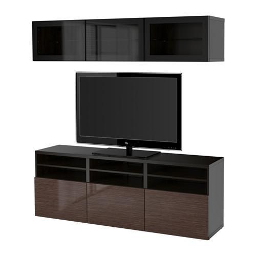 Ikea Tv Meubel Zwartbruin.Besto Kabinet Voor Tv Combinaties Glazen Deuren Zwart Bruin