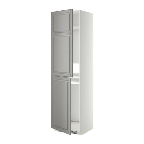 МЕТОД Высок шкаф д холодильн/мороз - 60x60x220 см, Будбин серый, белый