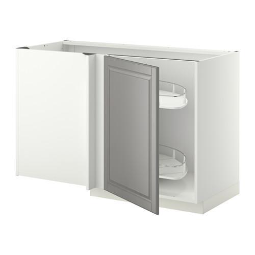 МЕТОД Угловой напол шкаф с выдвижн секц - Будбин серый, белый