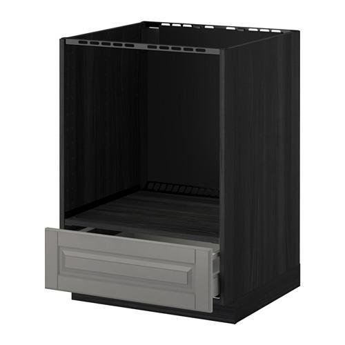МЕТОД / МАКСИМЕРА Напольный шкаф д/духовки, с ящиком - Будбин серый, под дерево черный