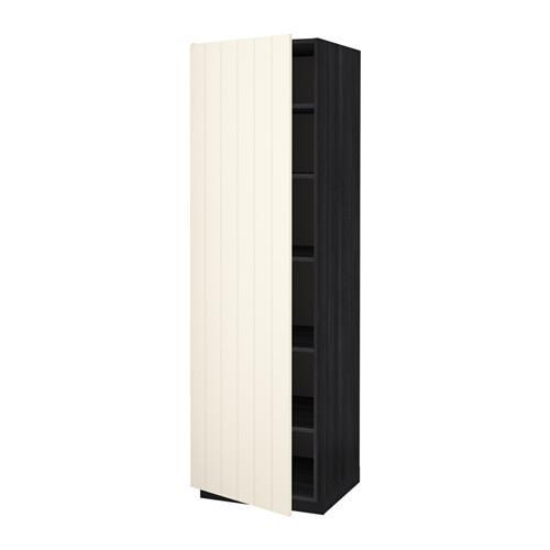 МЕТОД Высок шкаф с полками - 60x60x200 см, Хитарп белый с оттенком, под дерево черный