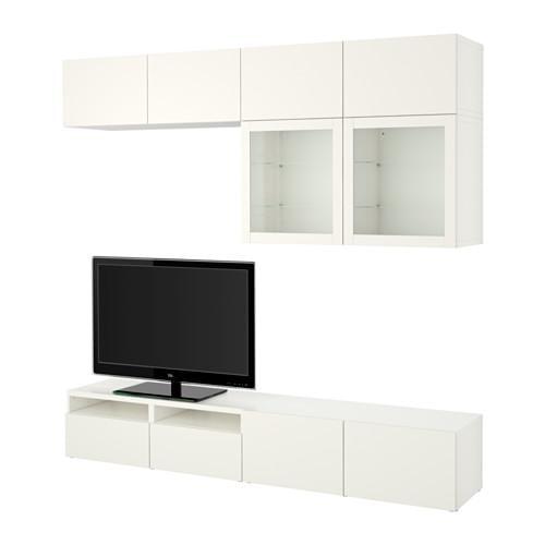 БЕСТО Шкаф для ТВ, комбин/стеклян дверцы - Лаппвикен/Синдвик белый прозрачное стекло, направляющие ящика, плавно закр