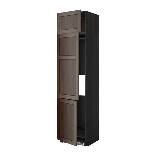 МЕТОД Выс шкаф для хол/мороз с 3 дверями - 60x60x240 см, Эдсерум под дерево коричневый, под дерево черный