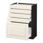 МЕТОД / МАКСИМЕРА Напольный шкаф с 5 ящиками - 60x37 см, Будбин белый с оттенком, под дерево черный