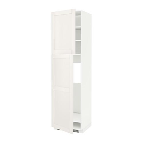 МЕТОД Высокий шкаф д/холодильника/2дверцы - 60x60x220 см, Сэведаль белый, белый