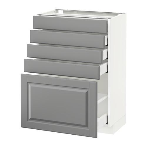 МЕТОД / МАКСИМЕРА Напольный шкаф с 5 ящиками - 60x37 см, Будбин серый, белый