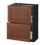 МЕТОД / ФОРВАРА Напольный шкаф с 2 ящиками - 60x37 см, Филипстад коричневый, под дерево черный