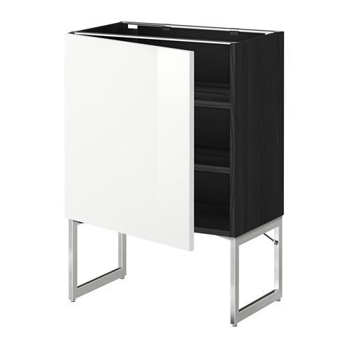 МЕТОД Напольный шкаф с полками - 60x37x60 см, Рингульт глянцевый белый, под дерево черный