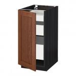 МЕТОД / МАКСИМЕРА Напольный шкаф с 1двр/3ящ - 40x60 см, Филипстад коричневый, под дерево черный
