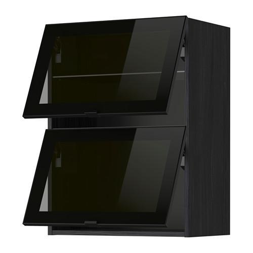 МЕТОД Навесн горизонтал шкаф/2 зерк дверц - 60x80 см, под дерево черный, Ютис дымчатое стекло/черный