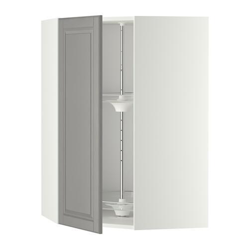 МЕТОД Угл нвсн шкф с вращающ секц - 68x100 см, Будбин серый, белый