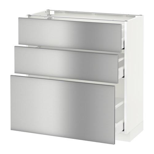 МЕТОД / МАКСИМЕРА Напольный шкаф с 3 ящиками - 80x37 см, Гревста нержавеющ сталь, белый