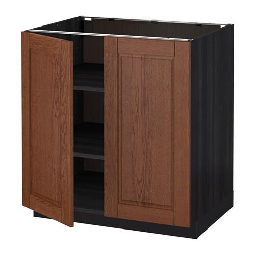 МЕТОД Напол шкаф с полками/2двери - 80x60 см, Филипстад коричневый, под дерево черный