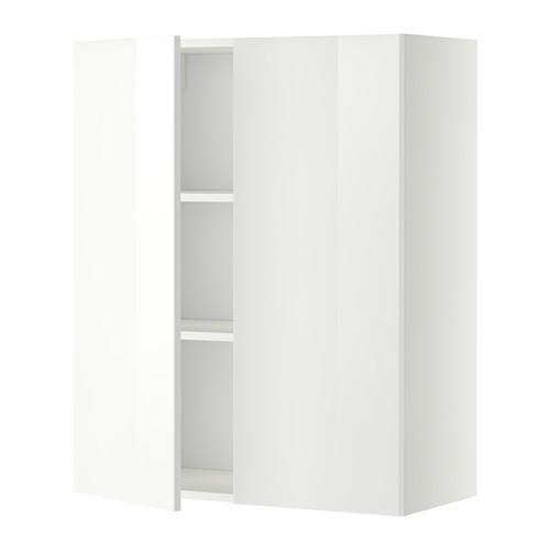МЕТОД Навесной шкаф с полками/2дверцы - 80x100 см, Рингульт глянцевый белый, белый
