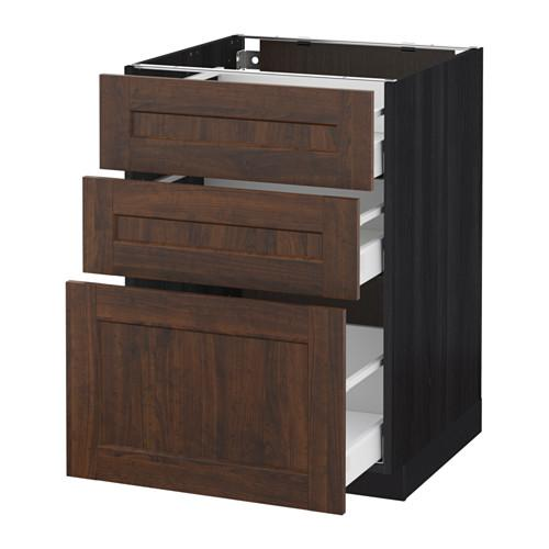 МЕТОД / МАКСИМЕРА Напольный шкаф с 3 ящиками - 60x60 см, Эдсерум под дерево коричневый, под дерево черный