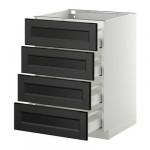 МЕТОД / МАКСИМЕРА Напольн шкаф 4 фронт панели/4 ящика - 60x60 см, Лаксарби черно-коричневый, белый